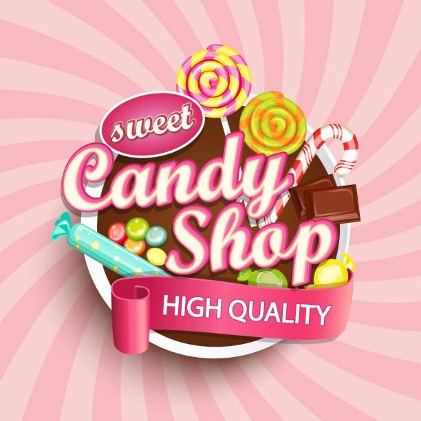 candy shop label or emblem. - sweet food stock illustrations, clip art, cartoons, & icons