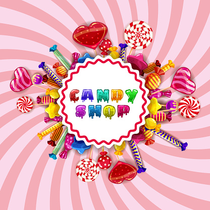 Candy Shop logo lable poster. Template background with colorful sweets lollipops, caramel, hearts, spirals. Vector illustration