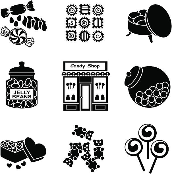candy shop Vector icons with a candy shop theme. gum drop stock illustrations