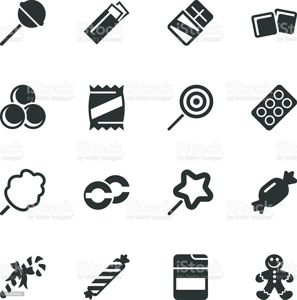 Silhouette icônes de bonbons - Illustration vectorielle