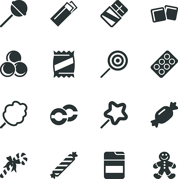 Candy Silhouette Icons Candy Silhouette Vector File Icons. candy icons stock illustrations