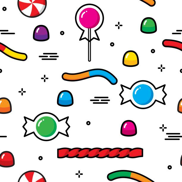Candy Stylized Pattern Vector illustration of stylized candy in a repeating pattern. gum drop stock illustrations