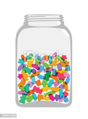 Colourful overlapping silhouettes of sweetsin jar. EPS10 file, best in RGB, CS5 versions in zip