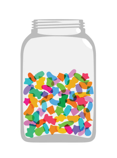 Candy Sweet Jar Colourful overlapping silhouettes of sweetsin jar. EPS10 file, best in RGB, CS5 versions in zip gum drop stock illustrations