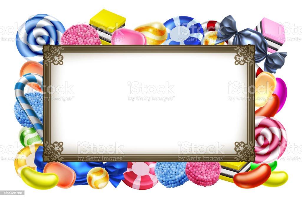 Candy Sweets Background Frame Sign candy sweets background frame sign - stockowe grafiki wektorowe i więcej obrazów baner royalty-free