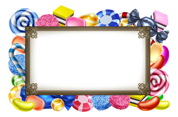 Candy Sweets Background Frame Sign Classic candy sweets arranged in a frame background sign candy borders stock illustrations