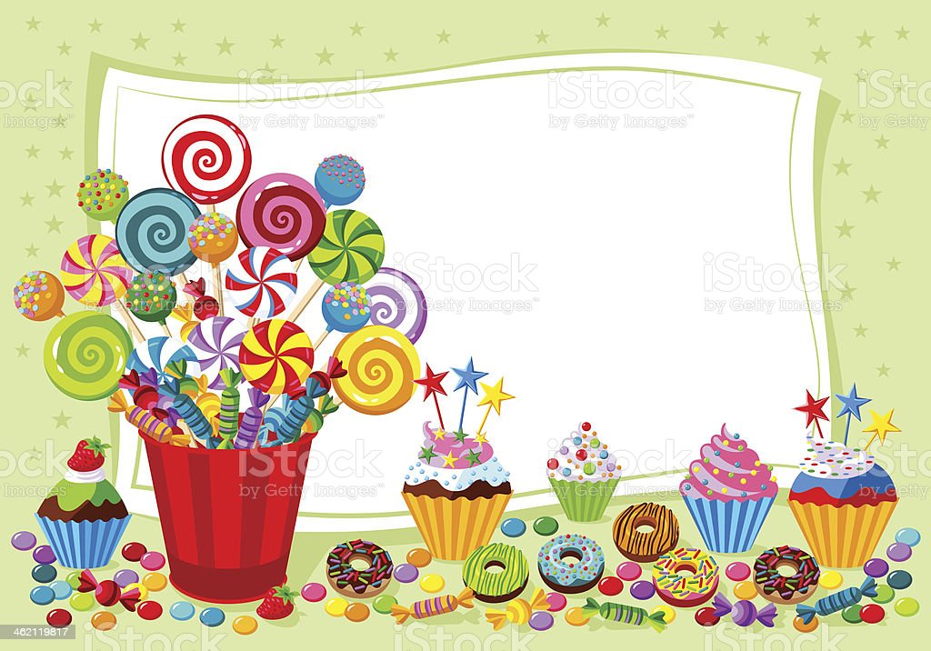 candy themed template background stock vector art more images of