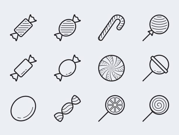Candy vector icon set in thin line style Candy vector icon set in thin line style candy icons stock illustrations