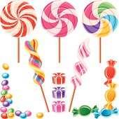 Set of lollypops and candy. Sweet design elements. Vector.