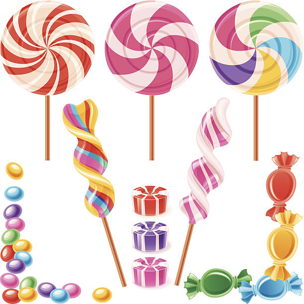 Candy Set of lollypops and candy. Sweet design elements. Vector. gum drop stock illustrations