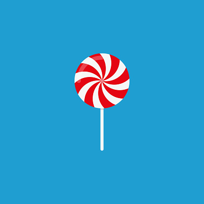 Candy with blue background. Vector icon Flat design