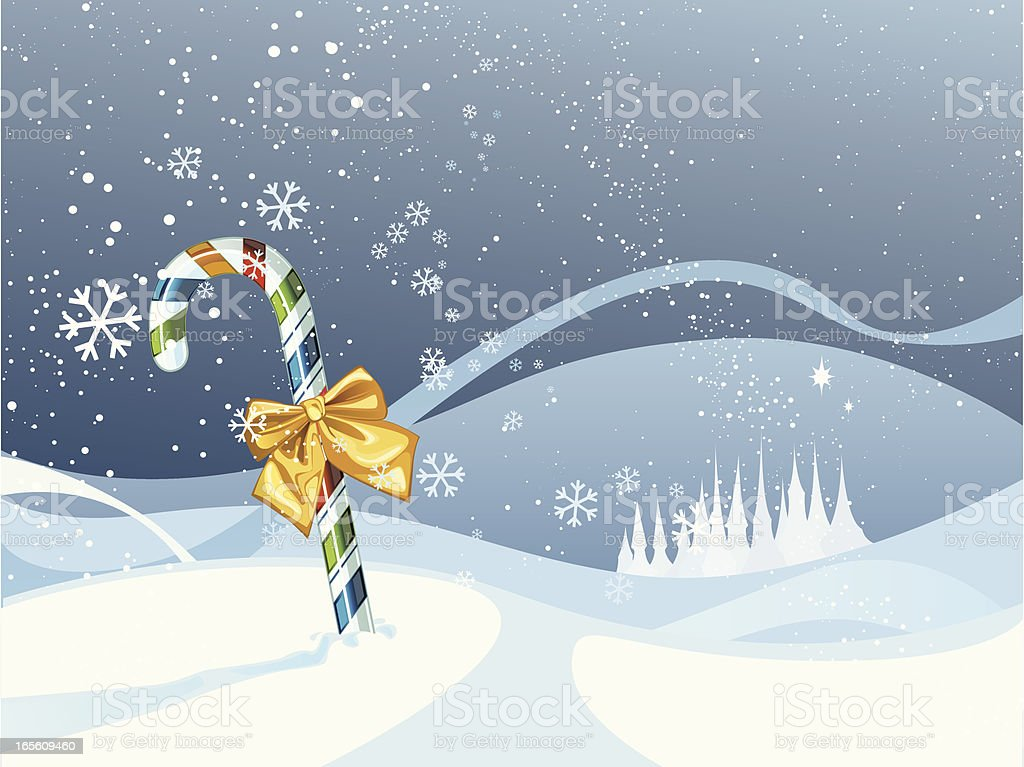 Candy-stick-in-the-snow royalty-free stock vector art