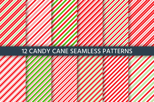 Cane candy seamless pattern. Vector red green illustration.