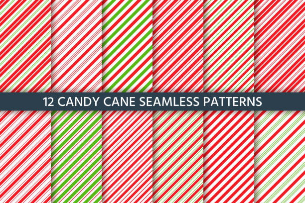 Cane candy seamless pattern. Vector red green illustration. Cane candy pattern. Vector. Christmas seamless background.  Holiday diagonal red green wrapping paper. Stripe traditional peppermint backdrop. Sugar lollipop illustration. candy patterns stock illustrations