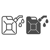 Canister line and solid icon. Can with drop of fuel. Oil industry vector design concept, outline style pictogram on white background