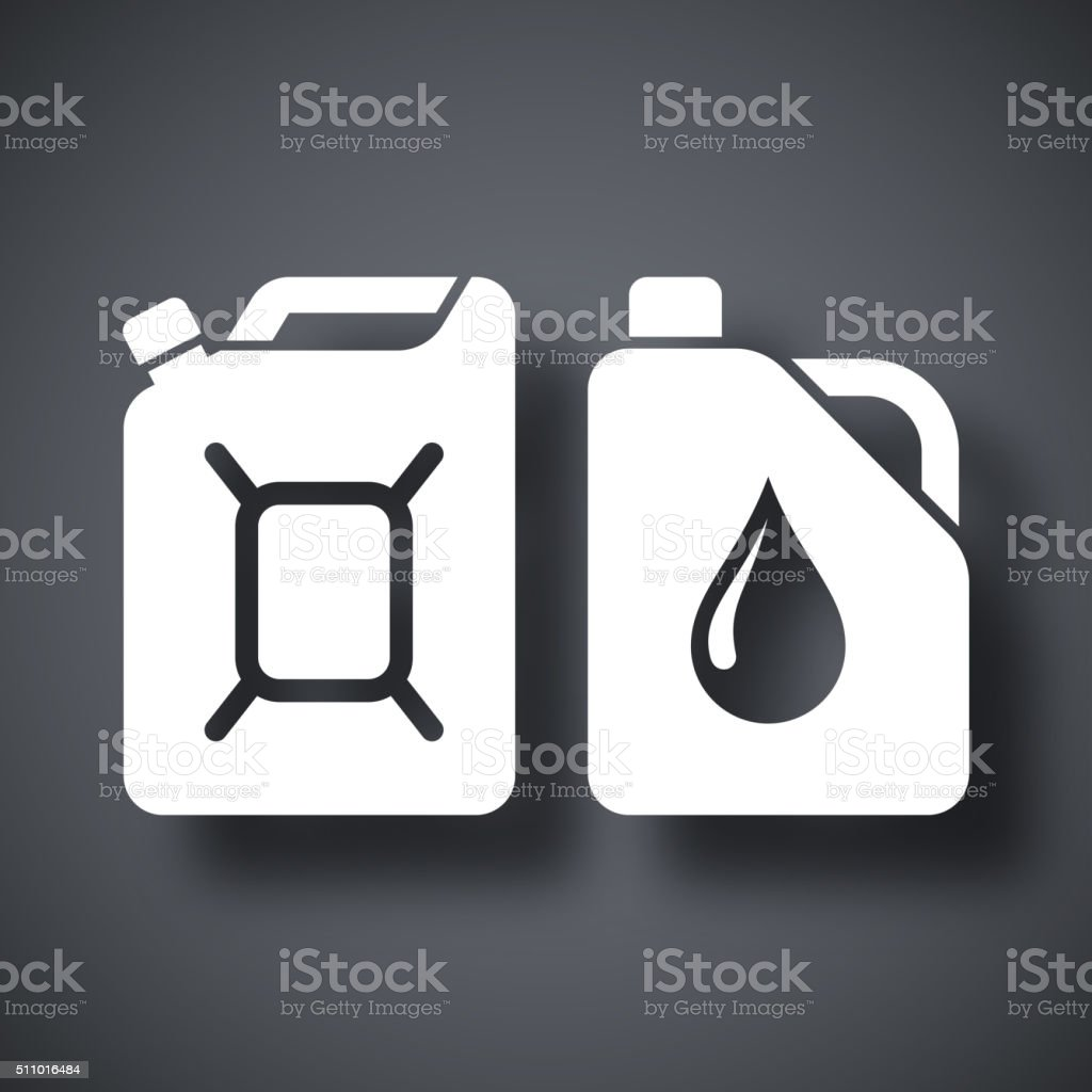 Kanister mit Benzin und Öl, Vektor-Symbol – Vektorgrafik