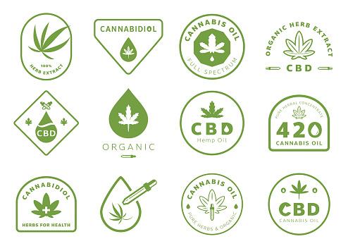 cannabidiol badge design with cannabis leaf