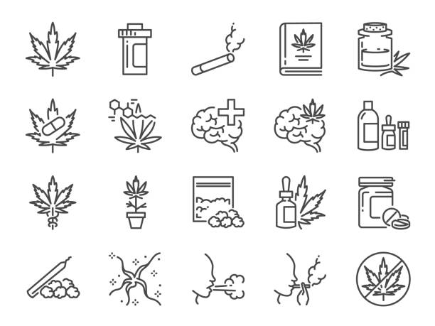 Cannabidiol icon set. Included icons as CBD, Cannabis, treatment, weed, tobacco and more. Cannabidiol icon set. Included icons as CBD, Cannabis, treatment, weed, tobacco and more. relief emotion stock illustrations