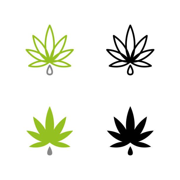 cannabis 21 a set of cannabis icons marijuana stock illustrations