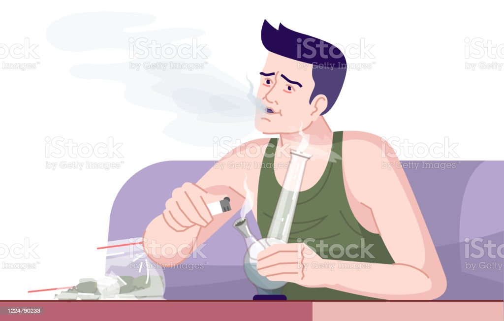 Cannabis Addiction Flat Color Vector Illustration Smoking