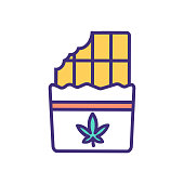 Cannabis edible RGB color icon. Food product. Chocolates with marijuana extract. Cannabis-infused baked goods. Smoke-free alternative. Consuming dried cannabis. Isolated vector illustration