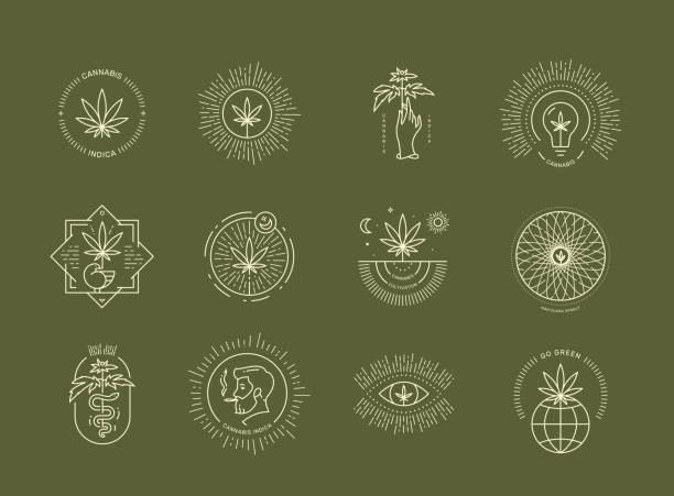cannabis emblem set on green background - naturopathy stock illustrations, clip art, cartoons, & icons