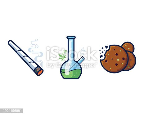 Cannabis joint, bong and cookies filled outline vector icon set