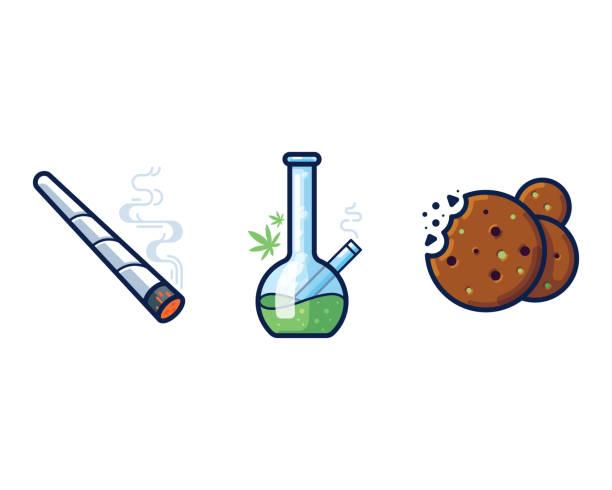 Cannabis filled outline vector icon set Cannabis joint, bong and cookies filled outline vector icon set marijuana joint stock illustrations
