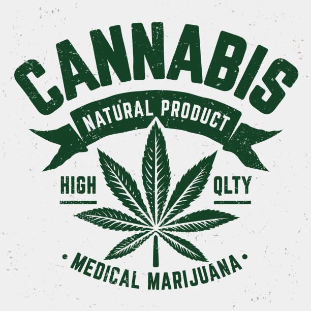 Cannabis Grunge Emblem Cannabis Grunge Emblem. Weathered old fashioned monochrome emblem with marijuana leaf. marijuana stock illustrations