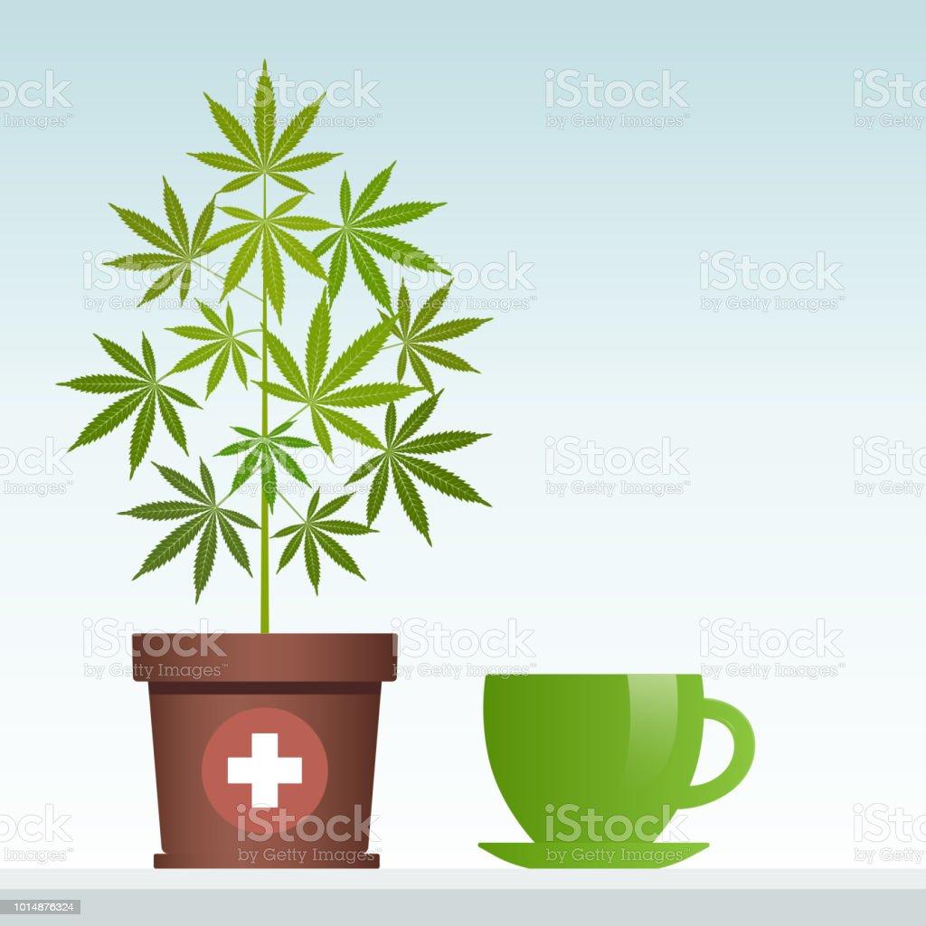 Cannabis Herbal Tea And Marijuana Plant Stock Vector Art & More ...