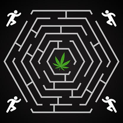 Cannabis hexagonal labyrinth - run to find the cannabis leaf background template