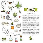Cannabis icons set