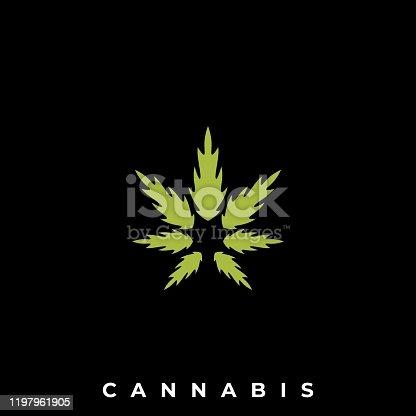istock Cannabis Illustration Vector Template 1197961905