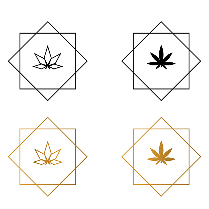 Cannabis in geometric polygonal frame vector illustration