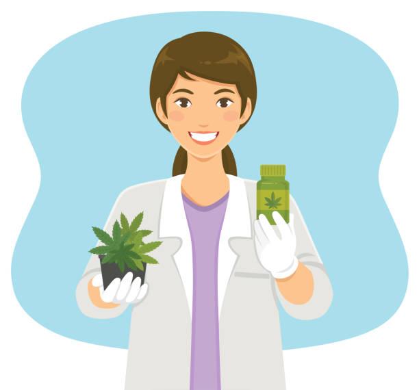 Cannabis in medicine vector art illustration