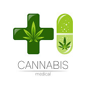 Cannabis in the tablet pill capsule with cross vector logotype for medicine and doctor. Medical marijuana symbol. Pharmaceuticals with plant and leaf for health. Concept sign of green herb. Green