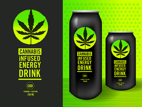 Cannabis Infused Energy Drink Label design set with packaging mock-up sample template