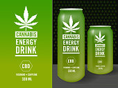 Vector illustration Cannabis Infused Energy Drink Label design set with packaging mock-up sample template. Includes label design with cannabis leaf and text design, can design mock-up. Easy to edit vector drawing in EPS 10 format.