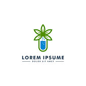 Cannabis lab icon logotype, Fresh lab design vector illustration
