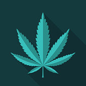 Cannabis leaf flat design icon