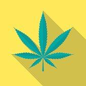 Cannabis leaf icon with long shadow.