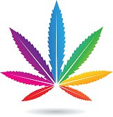 Cannabis Leaf in Rainbow Colors