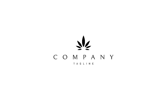 Cannabis Leaf Medical Black vector logo design