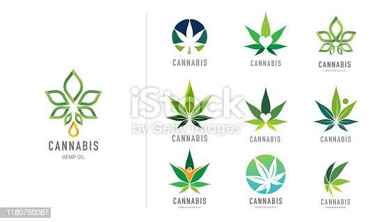 istock Cannabis leaf, medical marijuana, CBD oil, symbol and logo. Vector design 1180750267