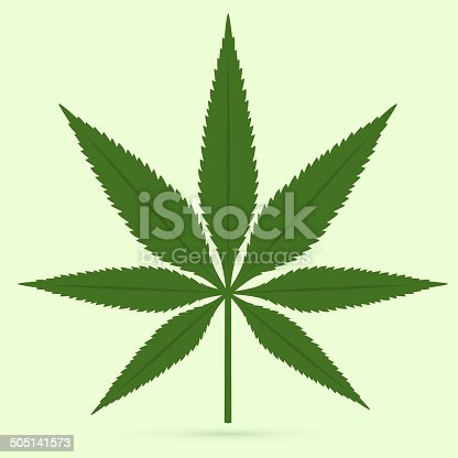 Cannabis leaf on light green background