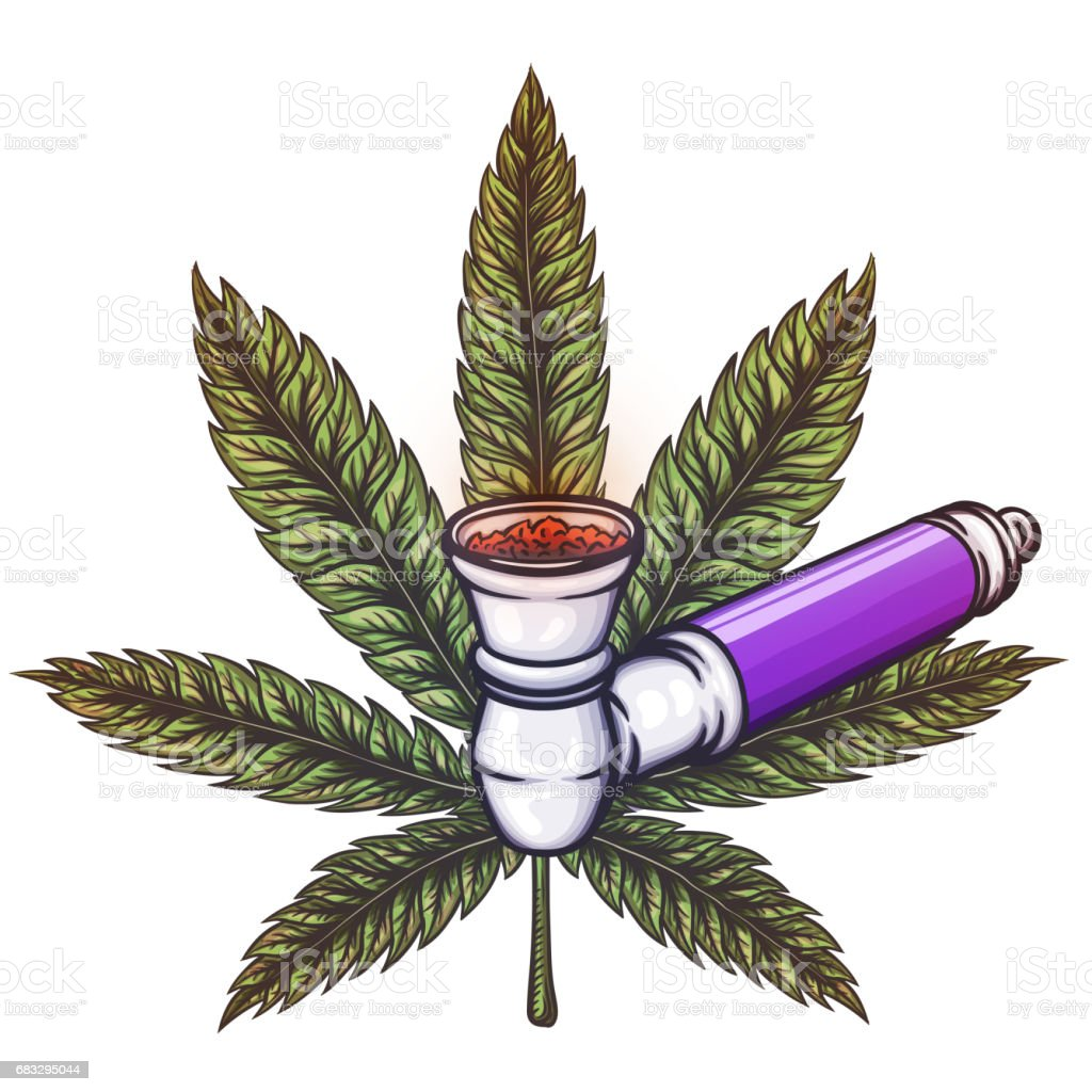 Cannabis leaf with pipe. vector art illustration