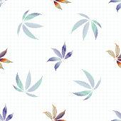 Cannabis leaves seamless vector pattern background. Hand drawn pastel hemp foliage on white grid backdrop. Stylish botanical marijuana design. All over print for wellness, health, self care concept.