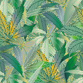 Cannabis leaves seamless vector pattern background. Hand drawn teal and gold hemp foliage backdrop. Elegant overlapping marijuana design. All over print for wellness, health concept,packaging, print.