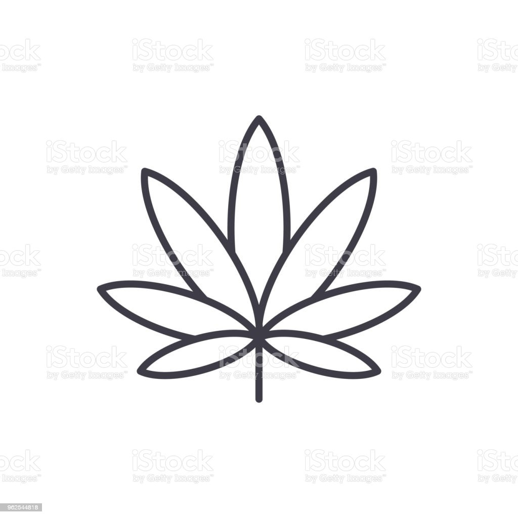 Cannabis line icon concept. Cannabis flat vector sign, symbol, illustration. - Royalty-free Agriculture stock vector
