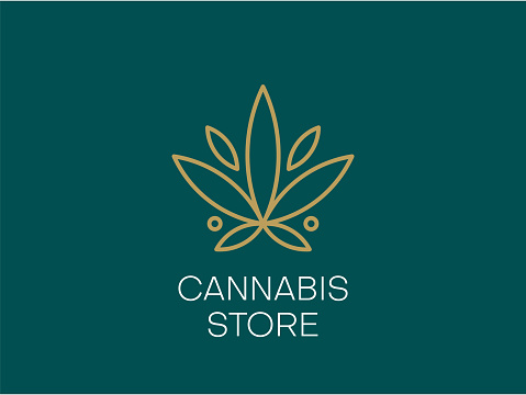 Cannabis logo or icon design in line art style. Vector